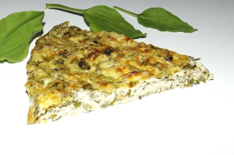 Quiche sans pâte au plantain et au fromage àl'ail et aux fines herbes