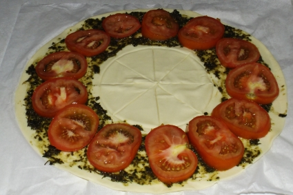 Tarte soleil pesto de plantain et tomates7